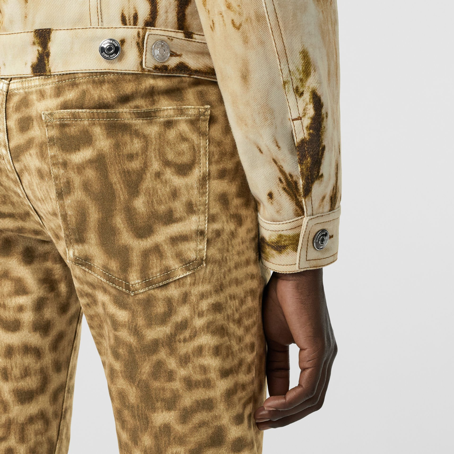 Straight Fit Leopard Print Japanese Denim Jeans in Beige - Women | Burberry - gallery image 4