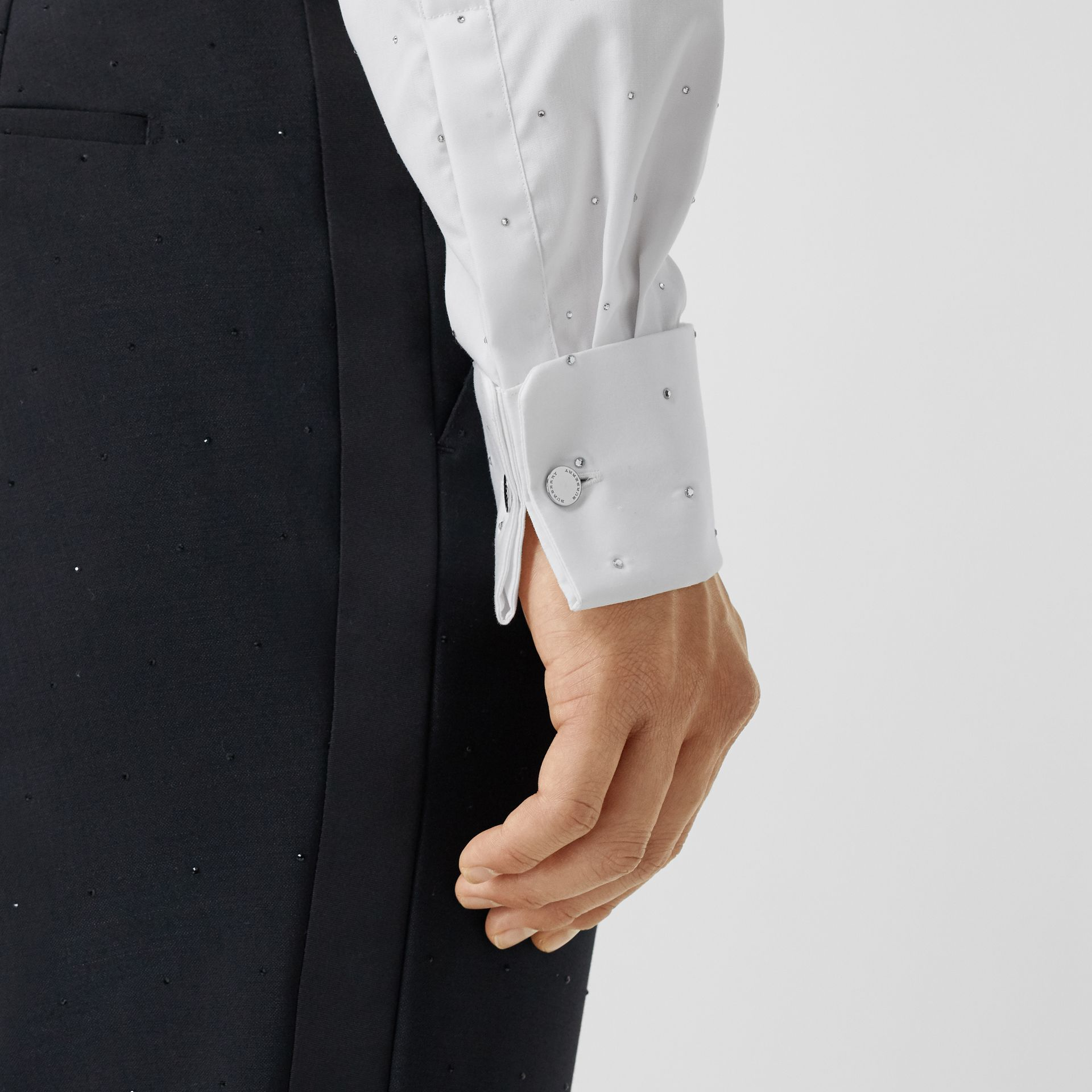 Embellished Cotton Poplin Dress Shirt in Optic White - Men | Burberry - gallery image 4