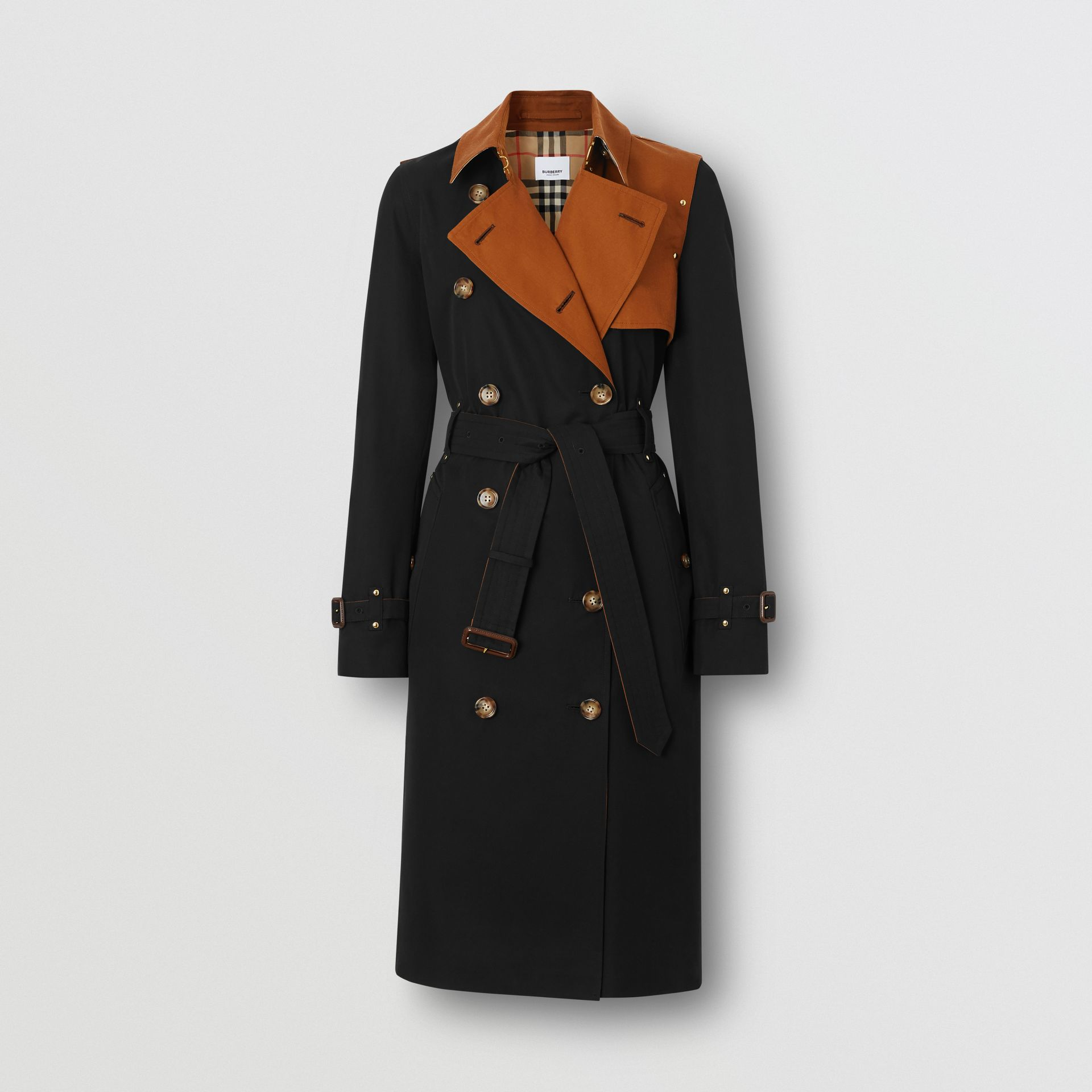 Two-tone Cotton Gabardine Trench Coat in Black - Women | Burberry Australia - gallery image 3