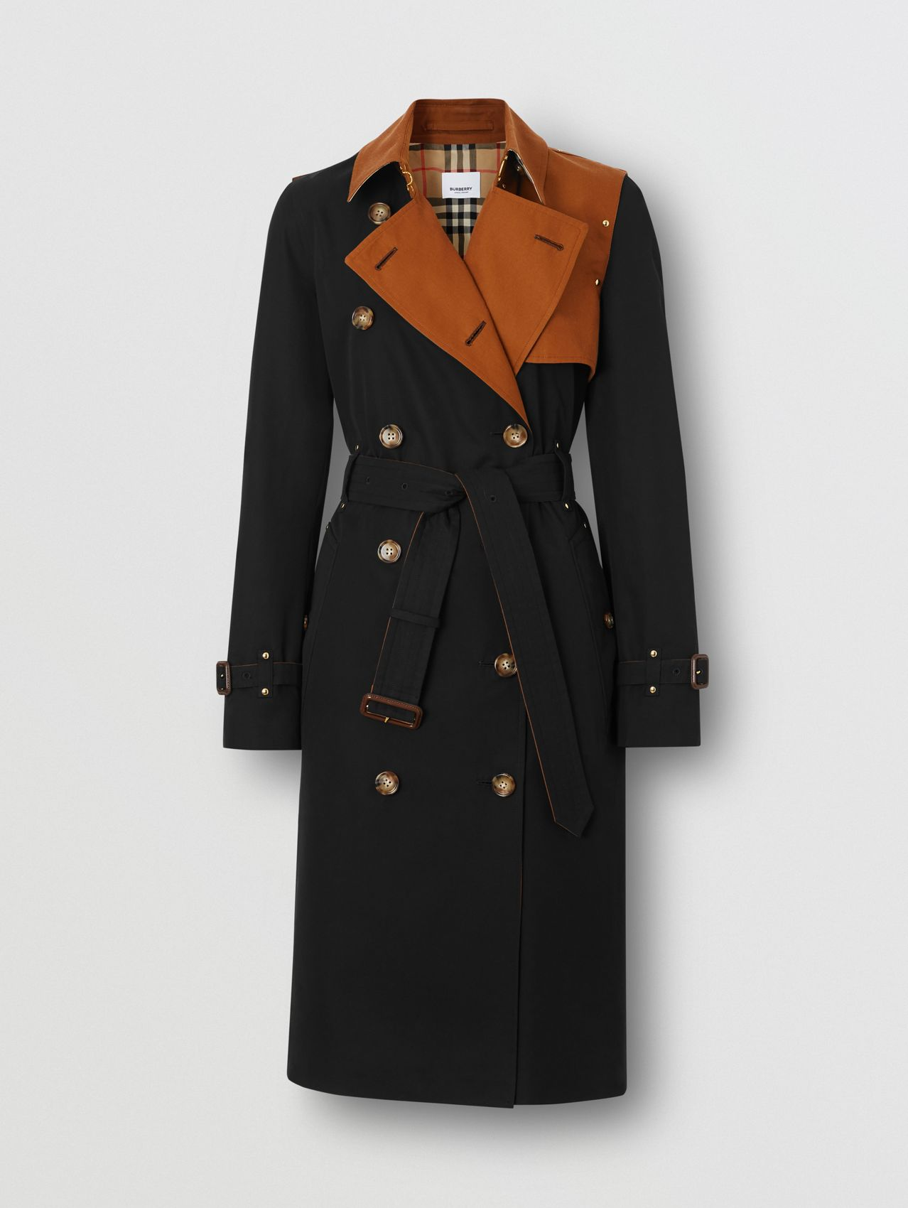 Two-tone Cotton Gabardine Trench Coat in Black