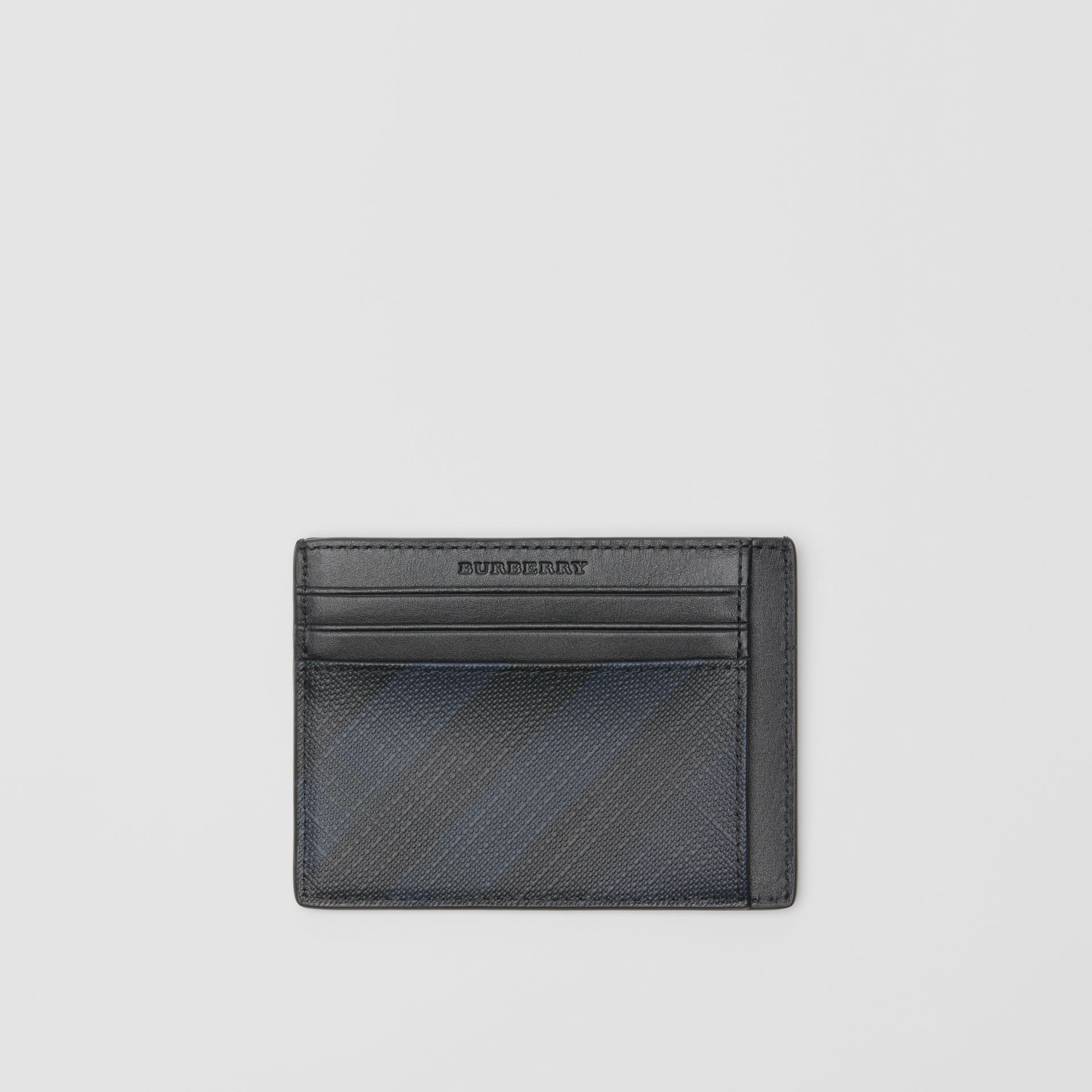 London Check Card Case in Navy/black - Men | Burberry - gallery image 0
