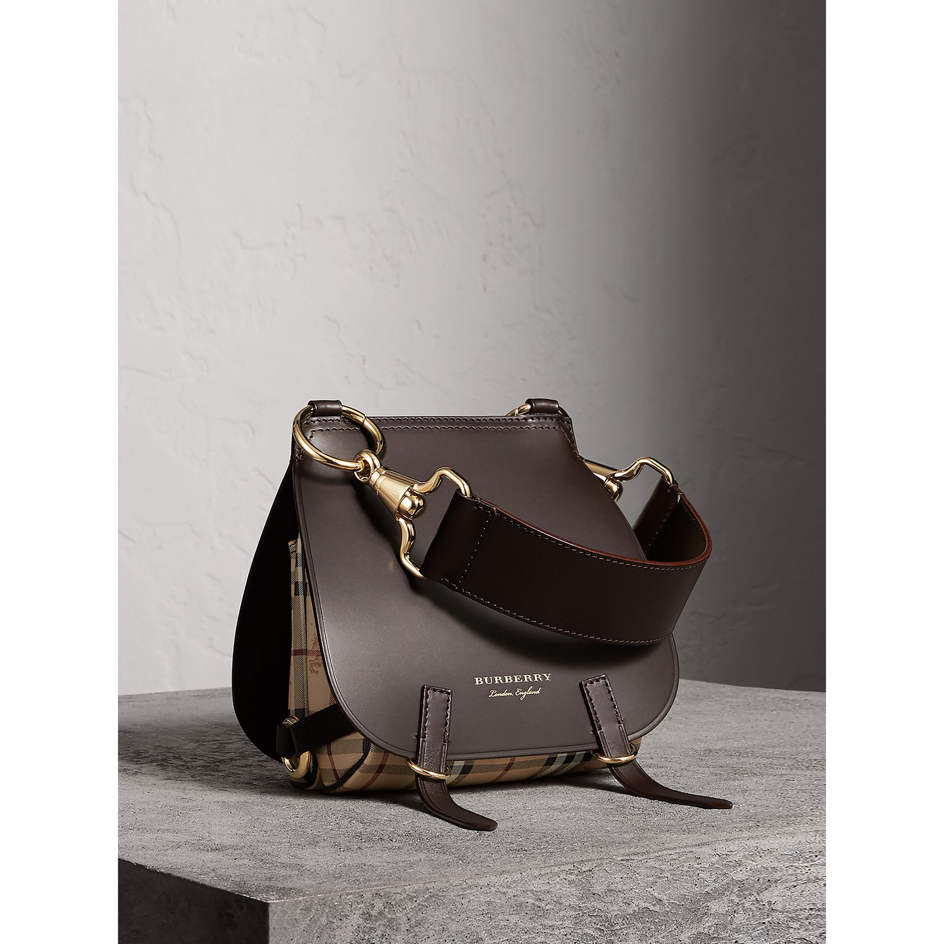 The Bridle Bag in Leather and Haymarket Check in Dark Clove Brown - Women | Burberry Canada - gallery image 1