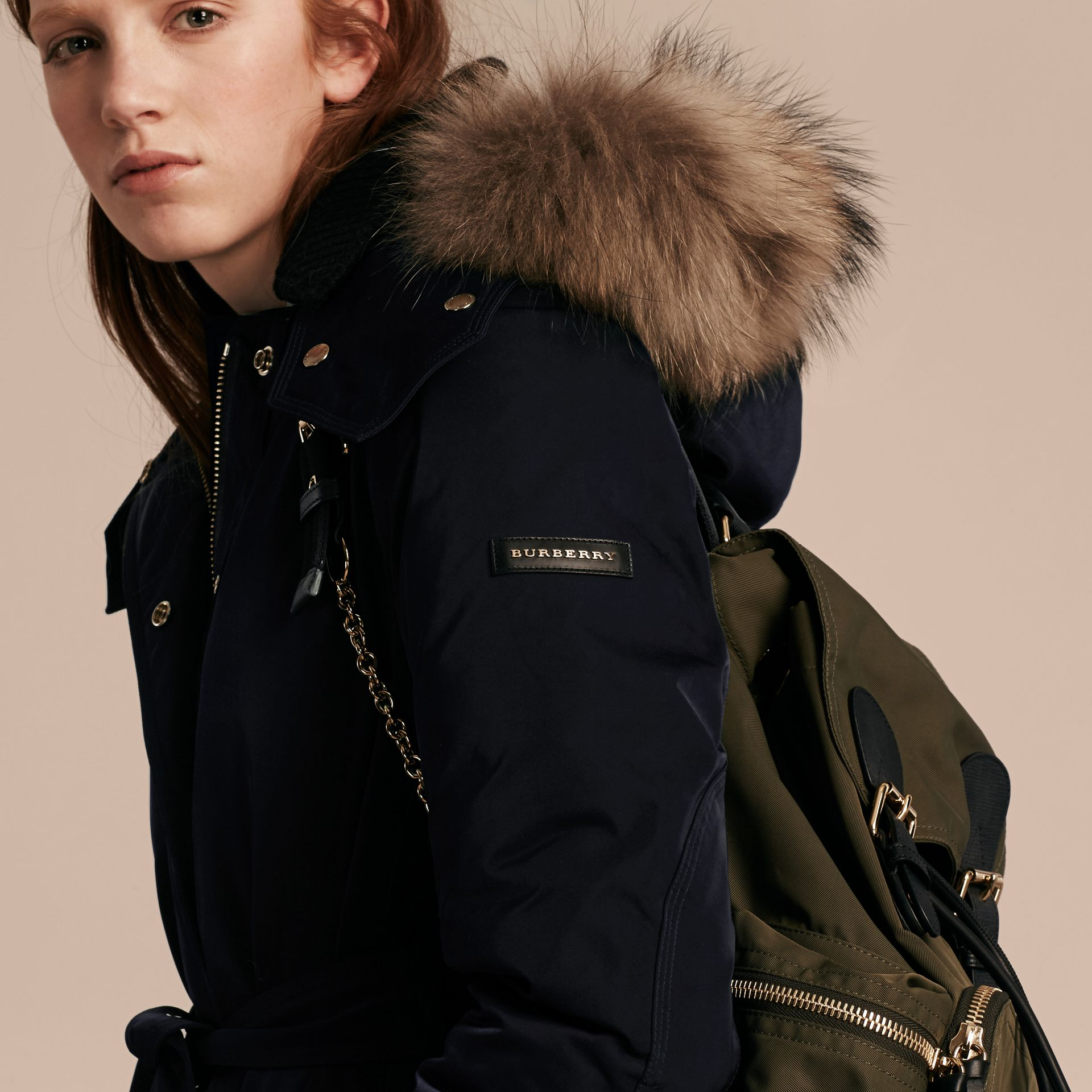 Navy Down-filled Parka Coat with Detachable Fur Trim Navy - gallery image 6