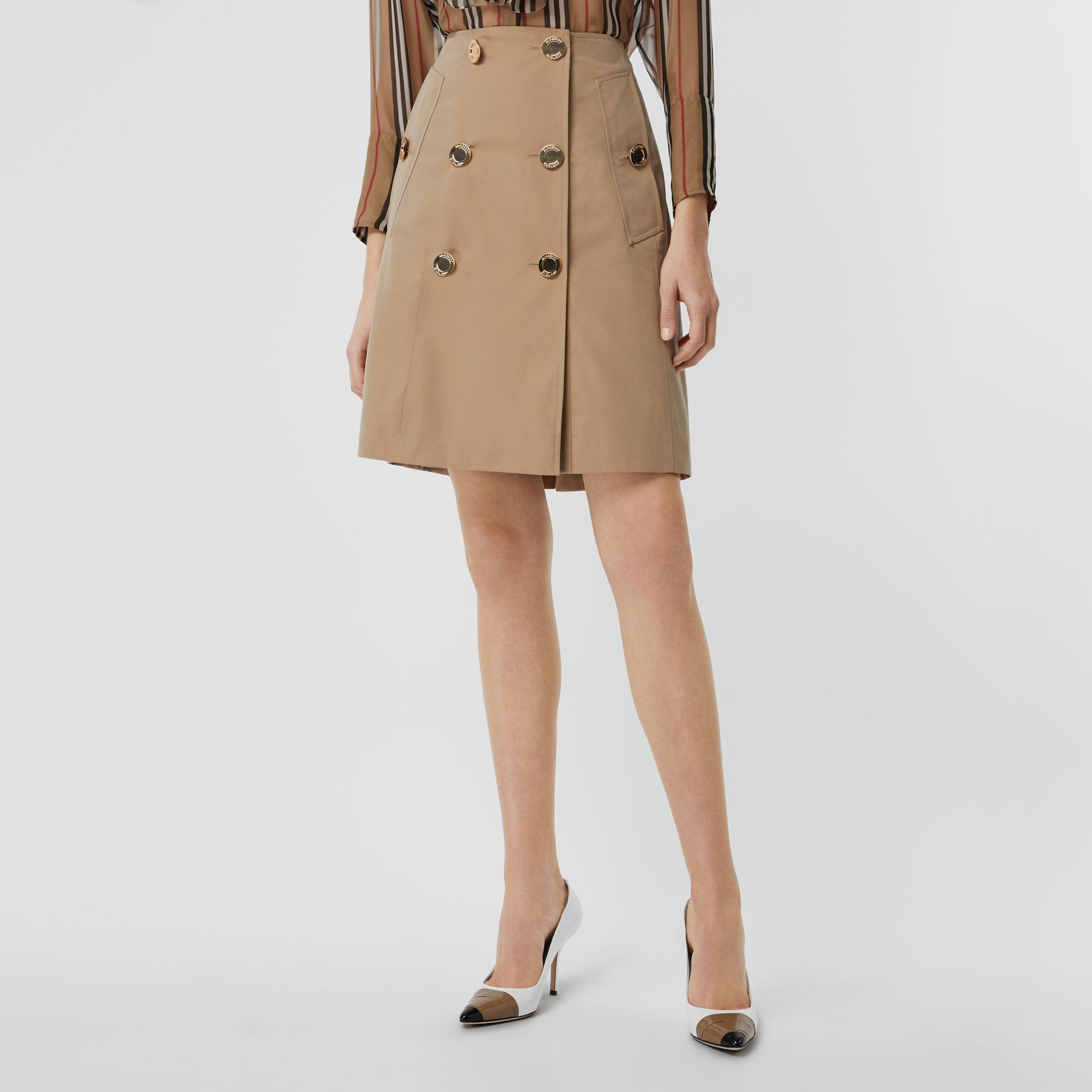 Cotton Gabardine Trench Skirt in Honey - Women | Burberry - gallery image 5