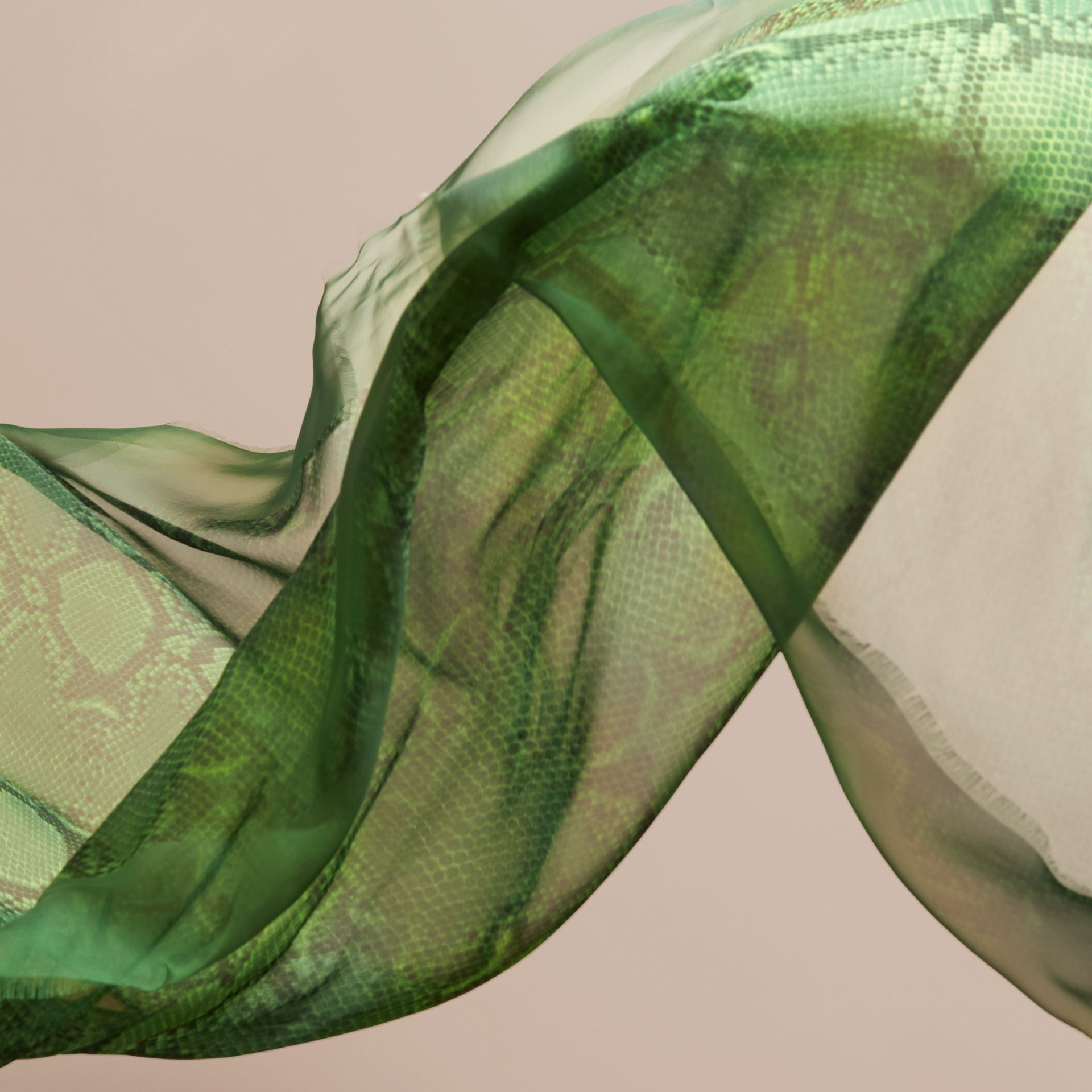 Bright green Python Print Silk Scarf Bright Green - gallery image 4