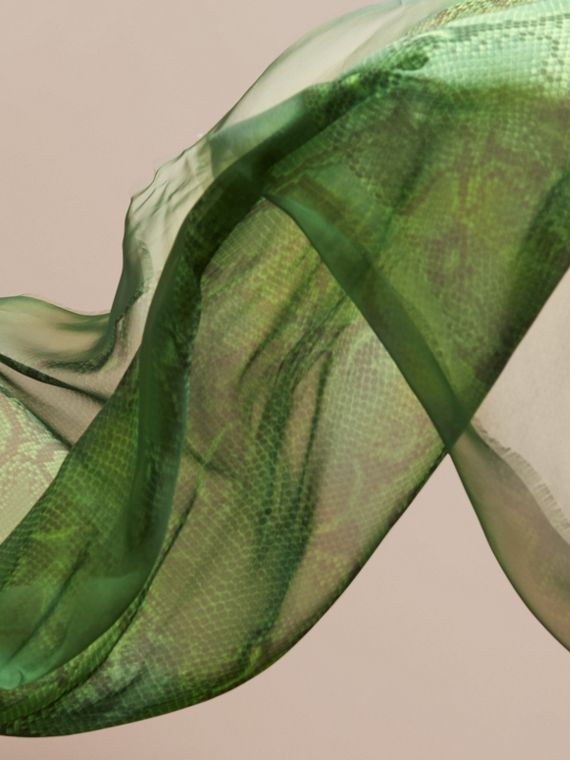 Bright green Python Print Silk Scarf Bright Green - cell image 3