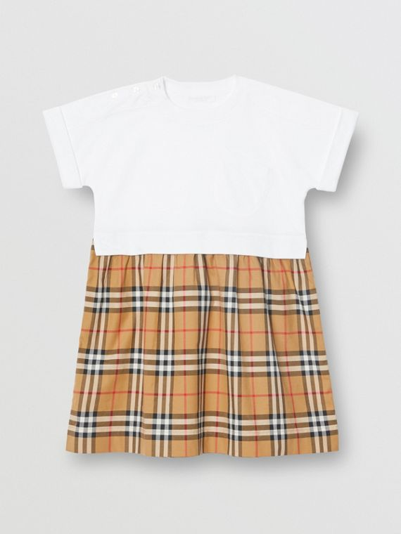bb57c06baea1 Vintage Check Cotton Dress in White