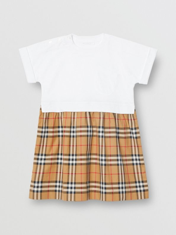 Vintage Check Cotton Dress in White