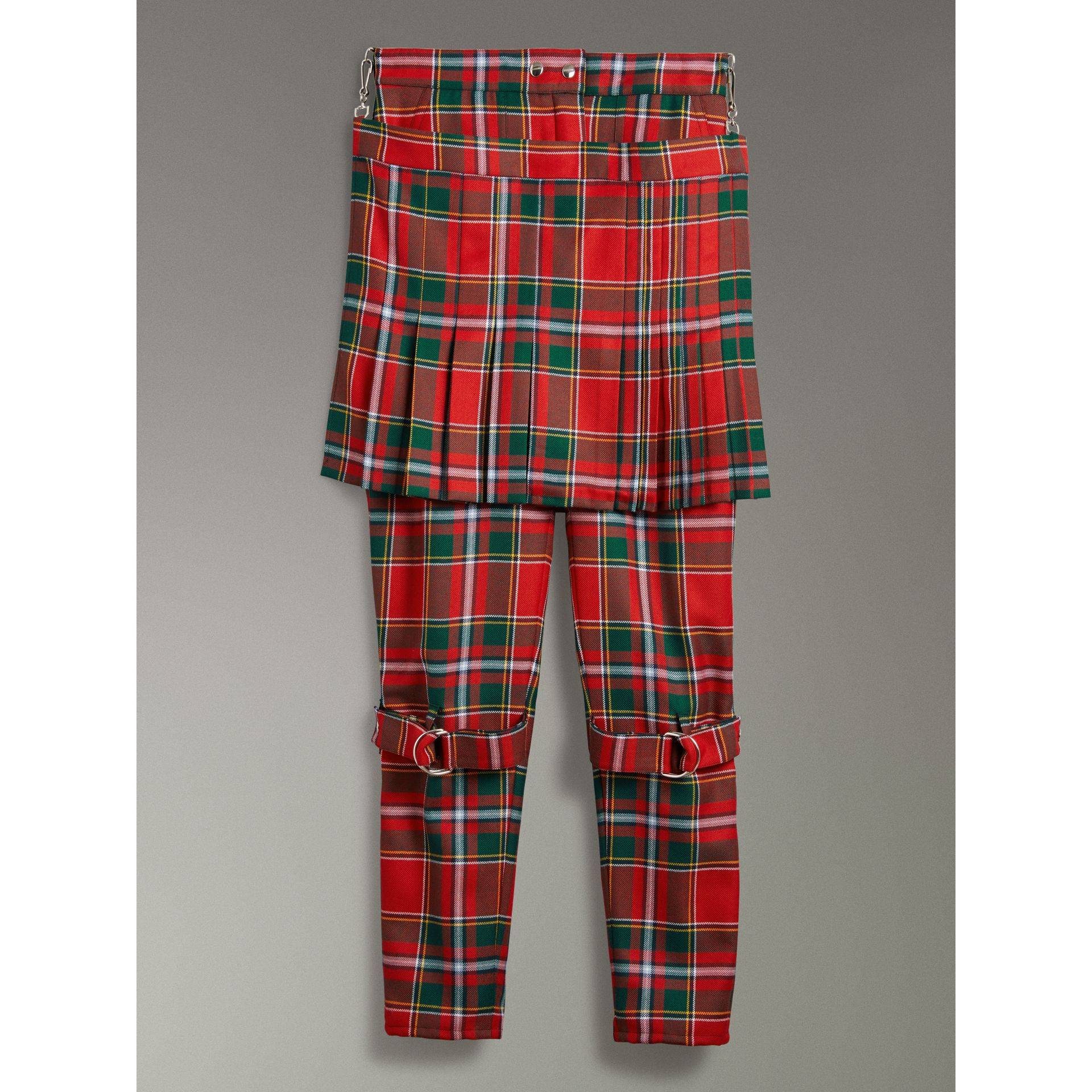 Modern Stewart Royal Tartan Punk Trousers in Bright Red - Women | Burberry - gallery image 3