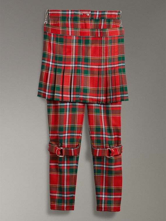 Modern Stewart Royal Tartan Punk Trousers in Bright Red - Women | Burberry Australia - cell image 3