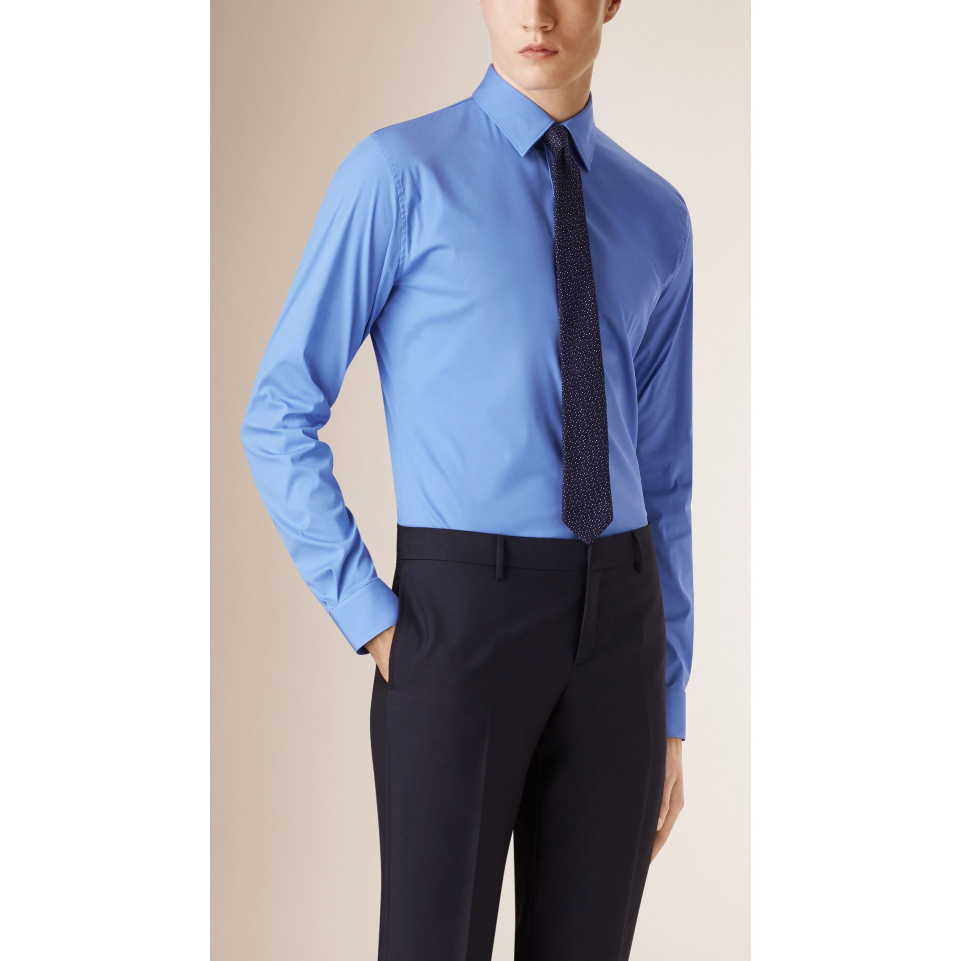 Slim Fit Stretch Cotton Blend Shirt in Mid Blue - gallery image 1