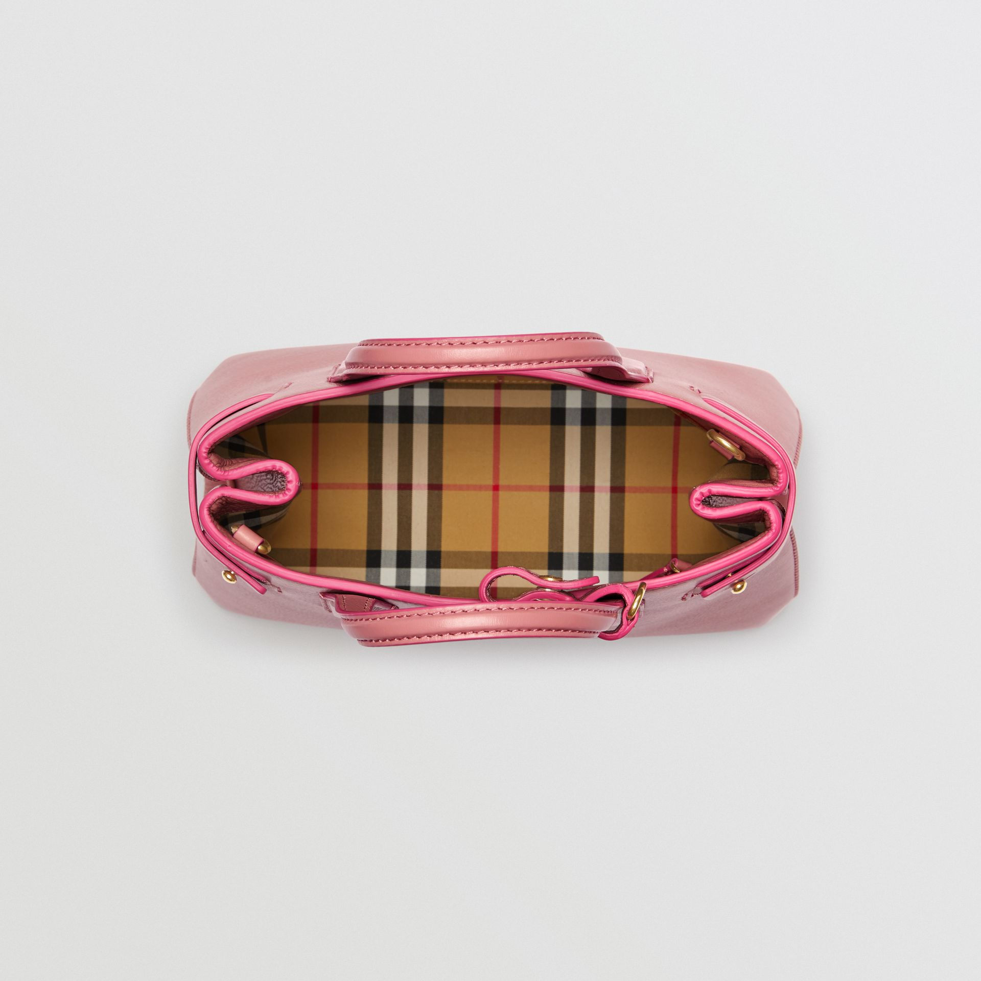 The Small Banner in Leather and Vintage Check in Dusty Rose - Women | Burberry Australia - gallery image 5