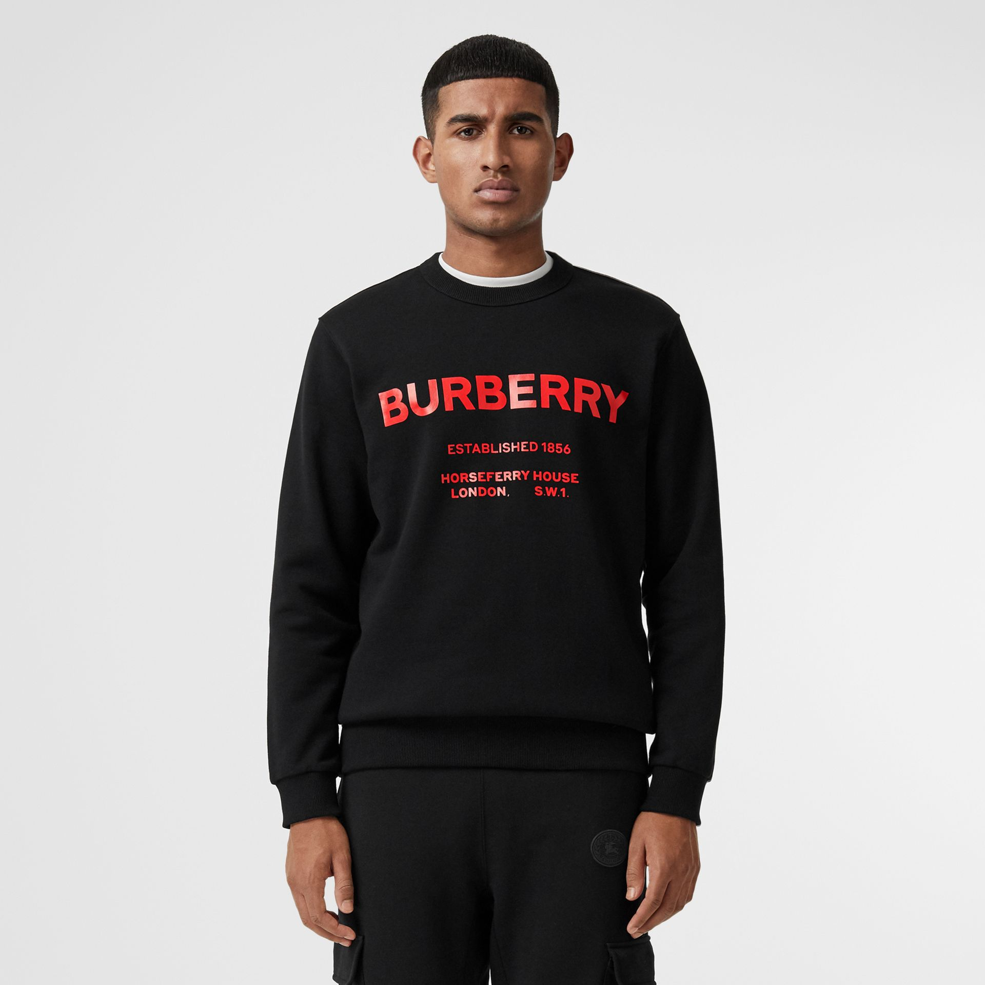 Horseferry Print Cotton Sweatshirt in Black - Men | Burberry - gallery image 5