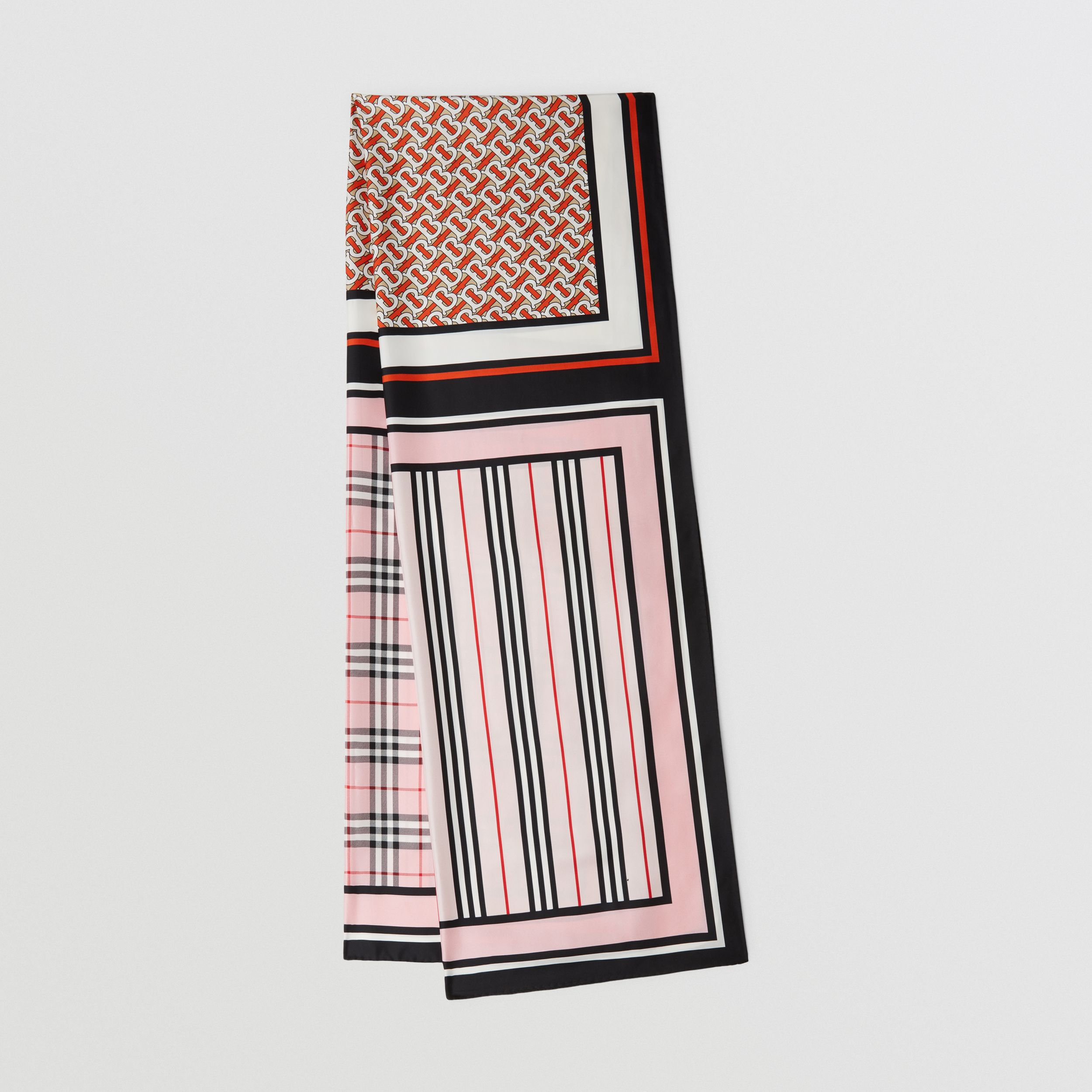 Monogram, Icon Stripe and Check Print Silk Scarf in Frosted Pink | Burberry - 1