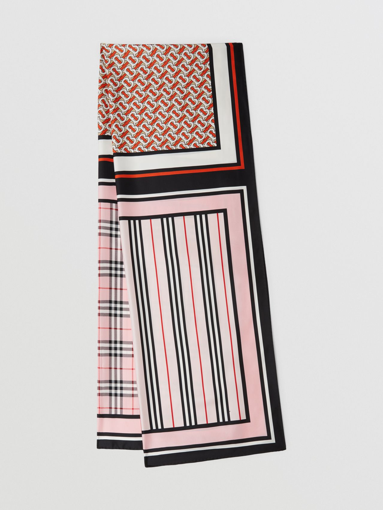 Monogram, Icon Stripe and Check Print Silk Scarf in Frosted Pink