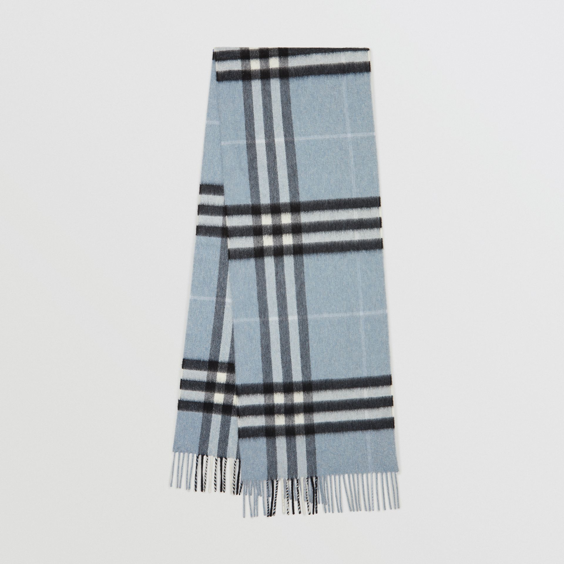 The Classic Check Cashmere Scarf in Dusty Blue | Burberry Australia - gallery image 0