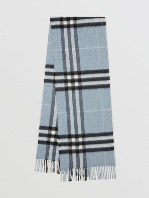 The Classic Check Cashmere Scarf in Dusty Blue