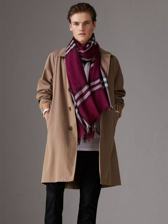 Lightweight Check Wool and Silk Scarf in Plum | Burberry Singapore - cell image 3