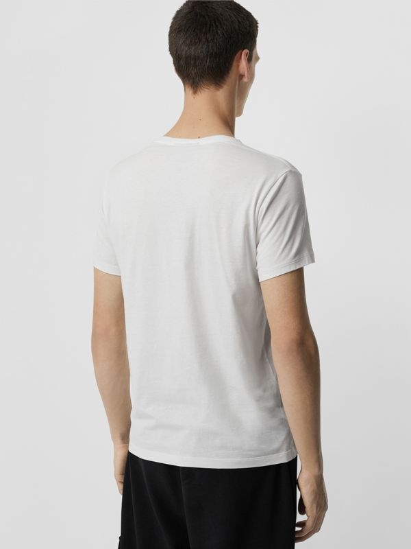 Collage Logo Print Cotton T-shirt in White - Men | Burberry - cell image 2