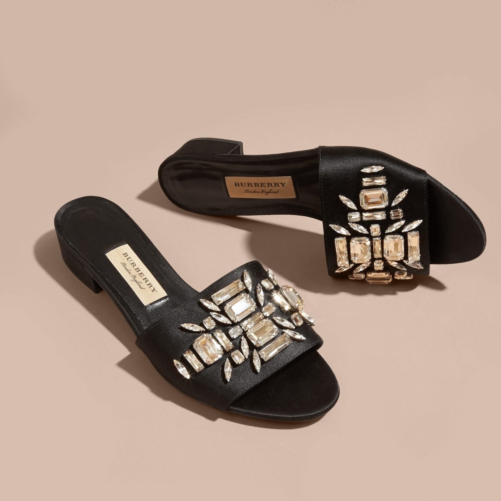 Black Technical Gem-embellished Slip-on Sandals - gallery image 3
