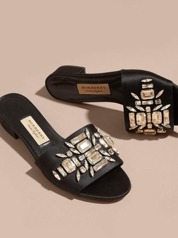 Black Technical Gem-embellished Slip-on Sandals - cell image 2
