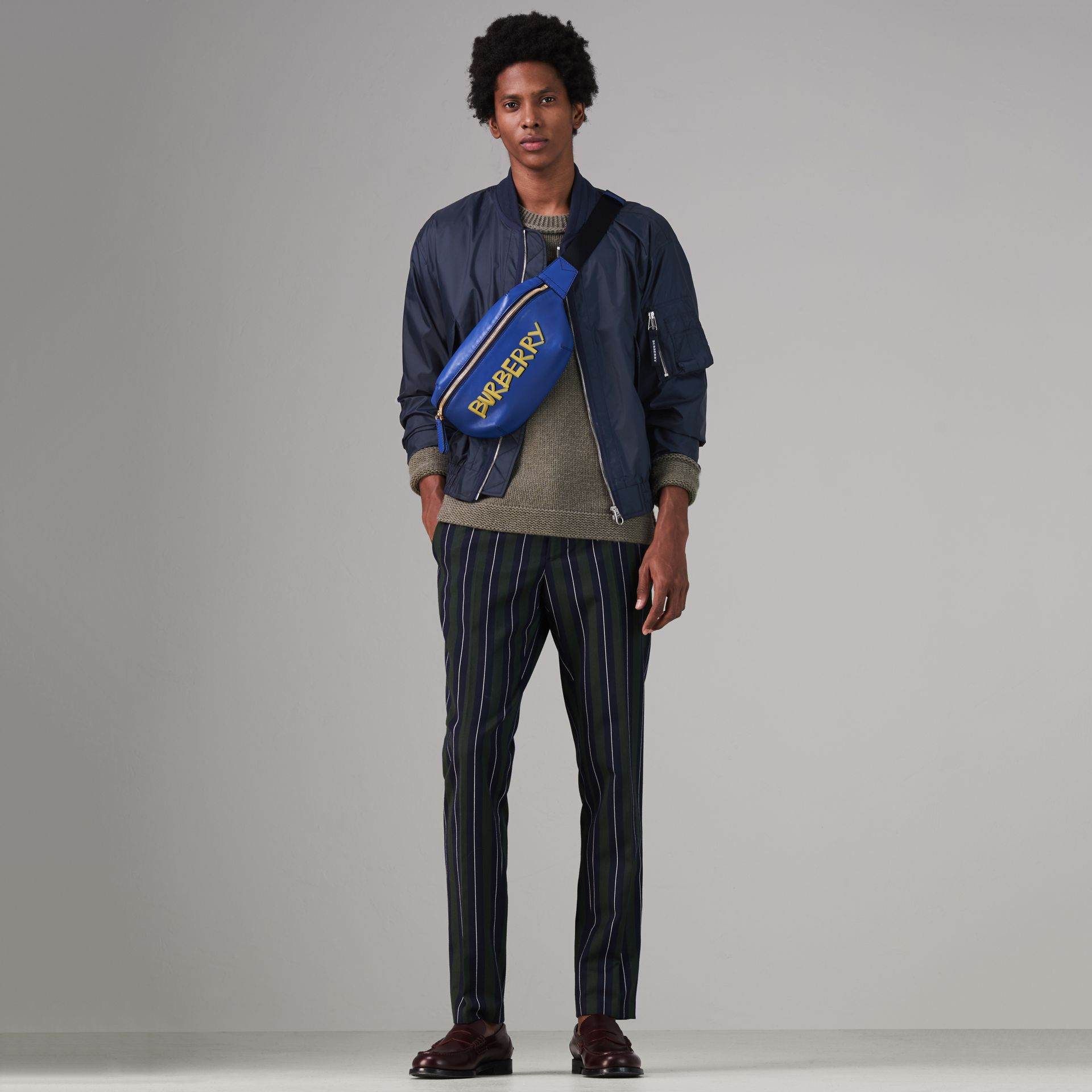 Lightweight Showerproof Bomber Jacket in Navy - Men | Burberry - gallery image 0