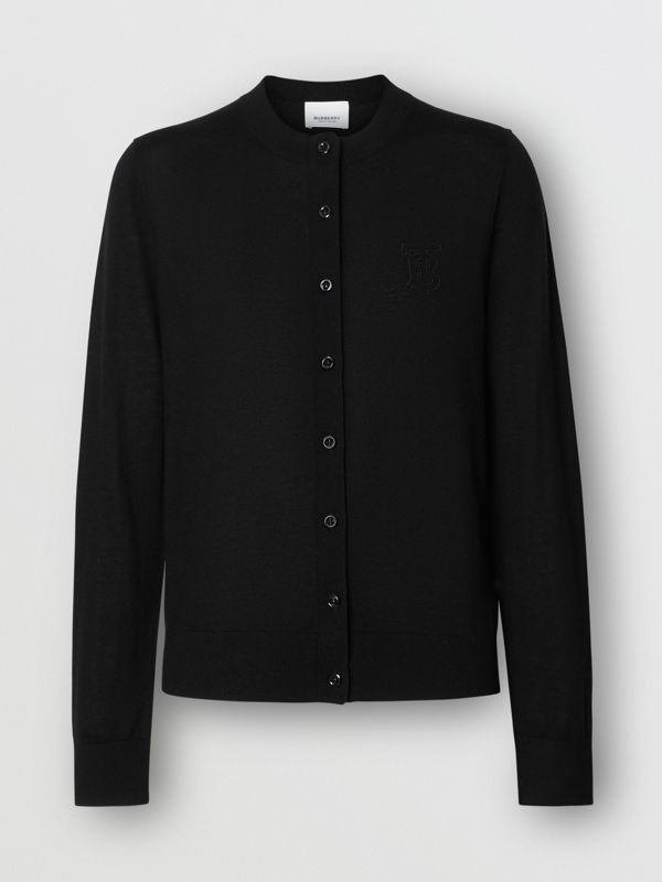 Monogram Motif Cashmere Cardigan in Black - Women | Burberry - cell image 3