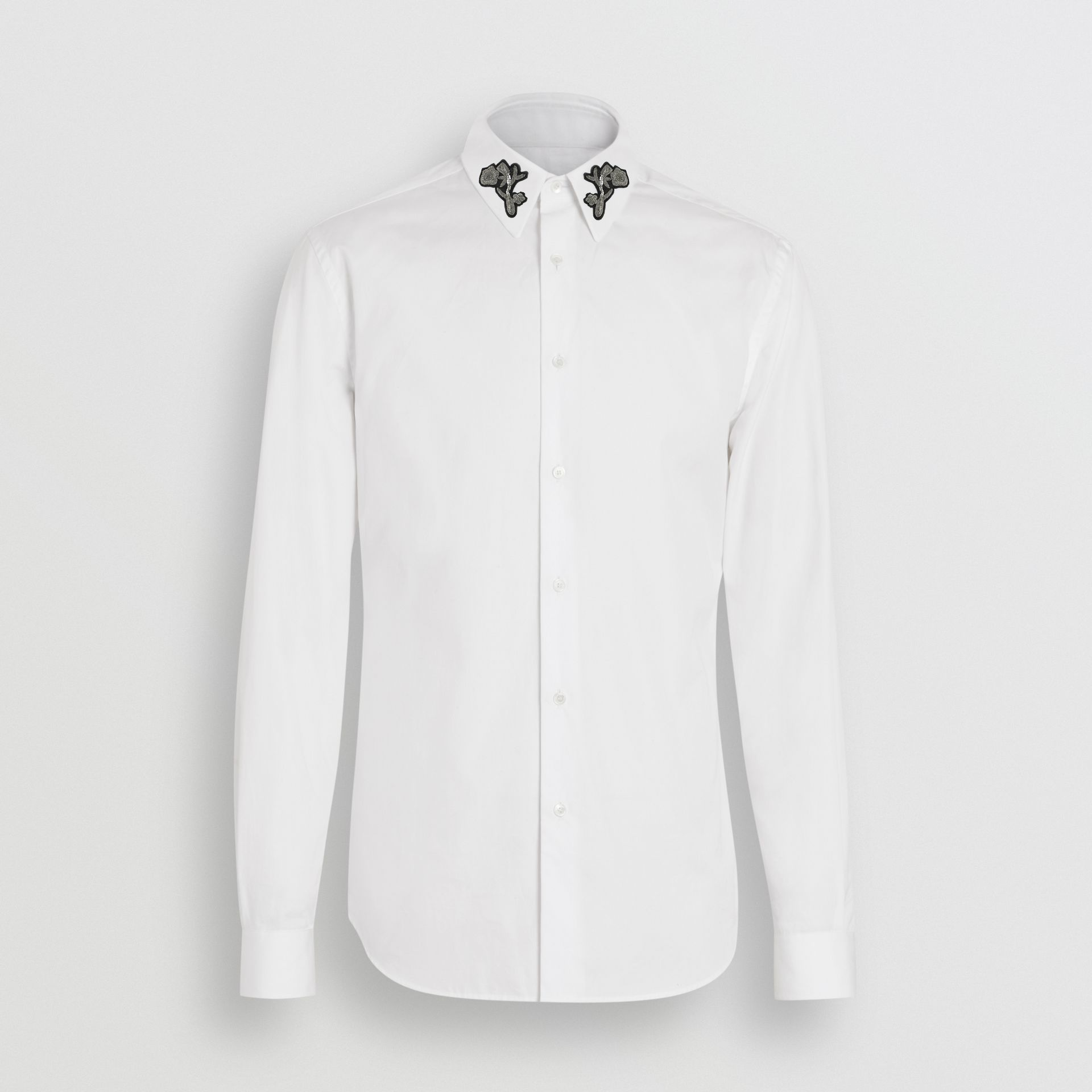 Slim Fit Bullion Floral Cotton Poplin Dress Shirt in White - Men | Burberry - gallery image 3
