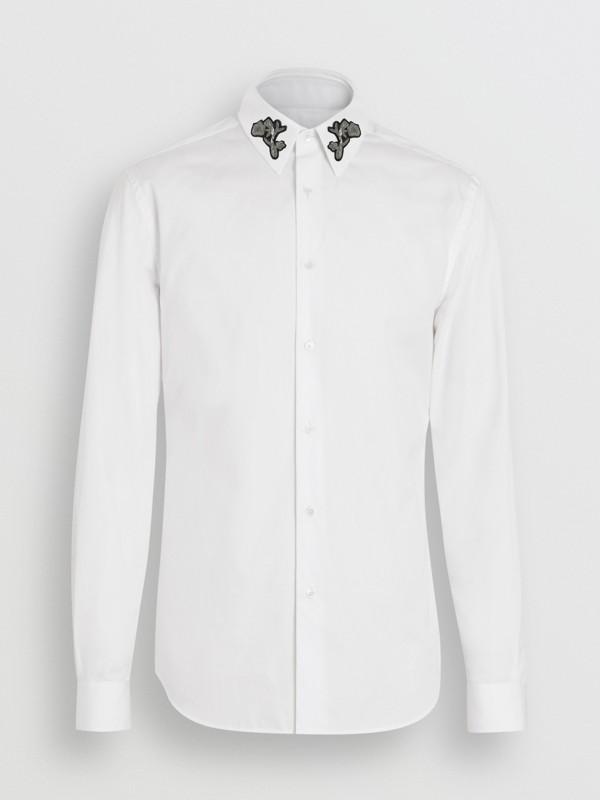 Slim Fit Bullion Floral Cotton Poplin Dress Shirt in White - Men   Burberry - cell image 3