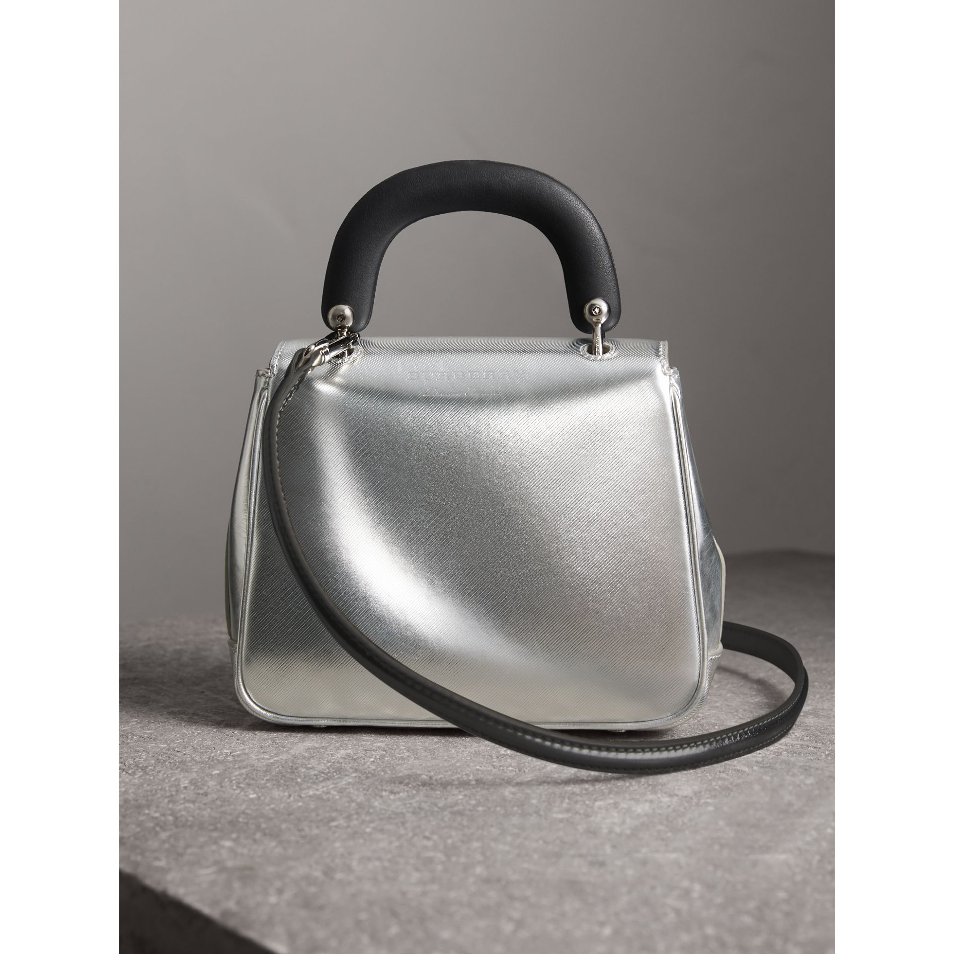 The Small DK88 Top Handle Bag in Metallic Leather in Silver - Women | Burberry - gallery image 4