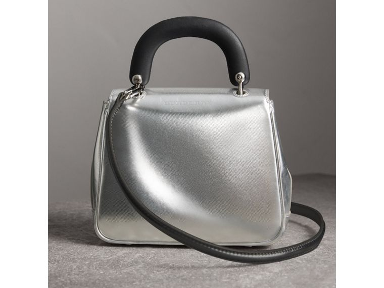 The Small DK88 Top Handle Bag in Metallic Leather in Silver - Women | Burberry - cell image 4