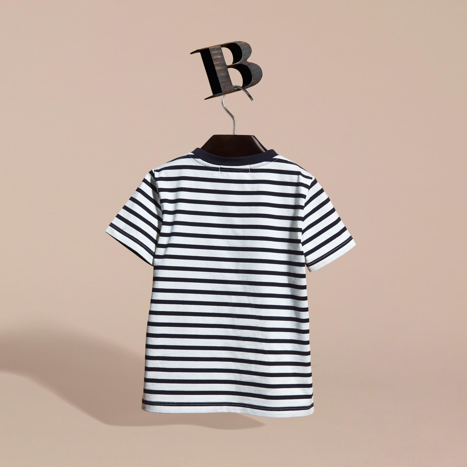 Striped Storm Cloud Print Cotton T-shirt - gallery image 4