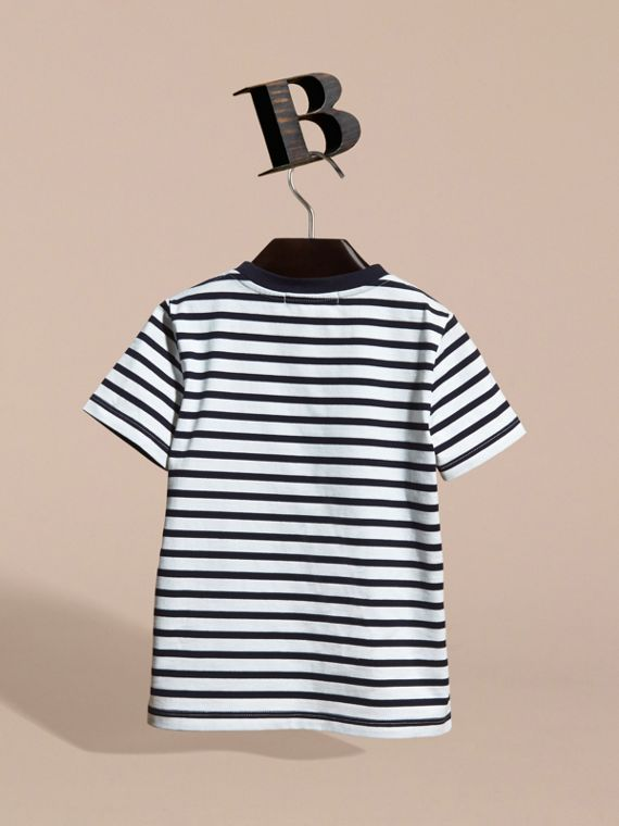 Striped Storm Cloud Print Cotton T-shirt - cell image 3