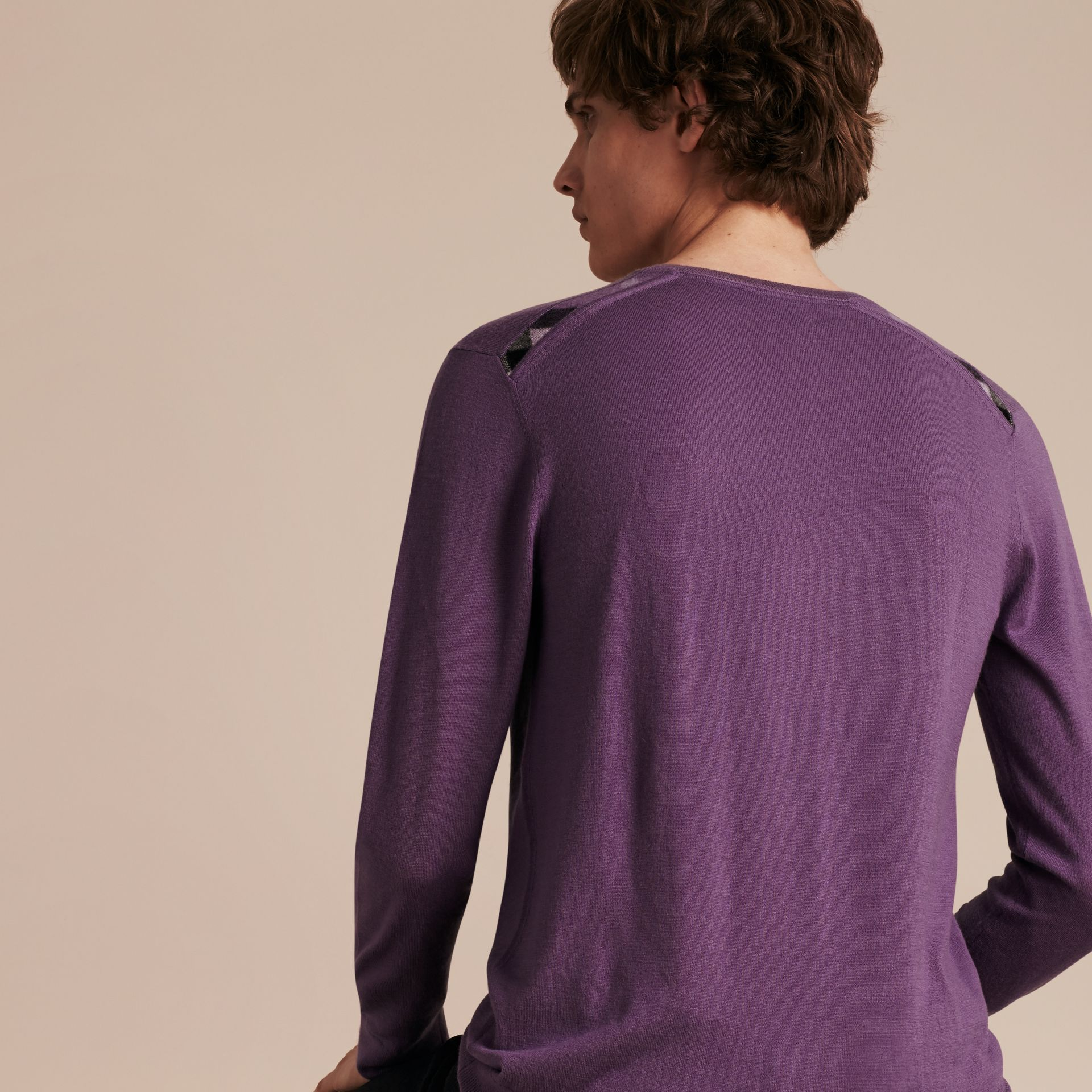 Dusty lilac Lightweight Crew Neck Cashmere Sweater with Check Trim Dusty Lilac - gallery image 3