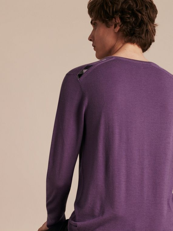 Dusty lilac Lightweight Crew Neck Cashmere Sweater with Check Trim Dusty Lilac - cell image 2