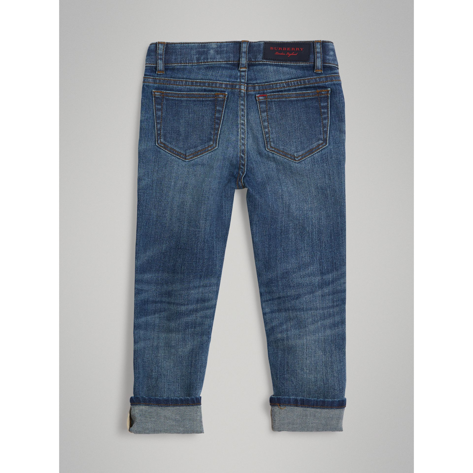 Skinny Fit Stretch Jeans in Mid Indigo | Burberry United Kingdom - gallery image 3
