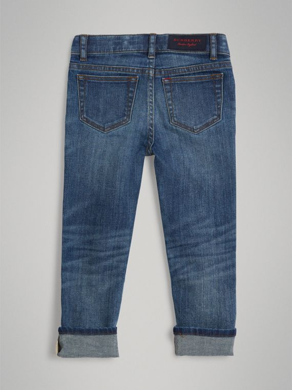 Skinny Fit Stretch Jeans in Mid Indigo - Boy | Burberry - cell image 3