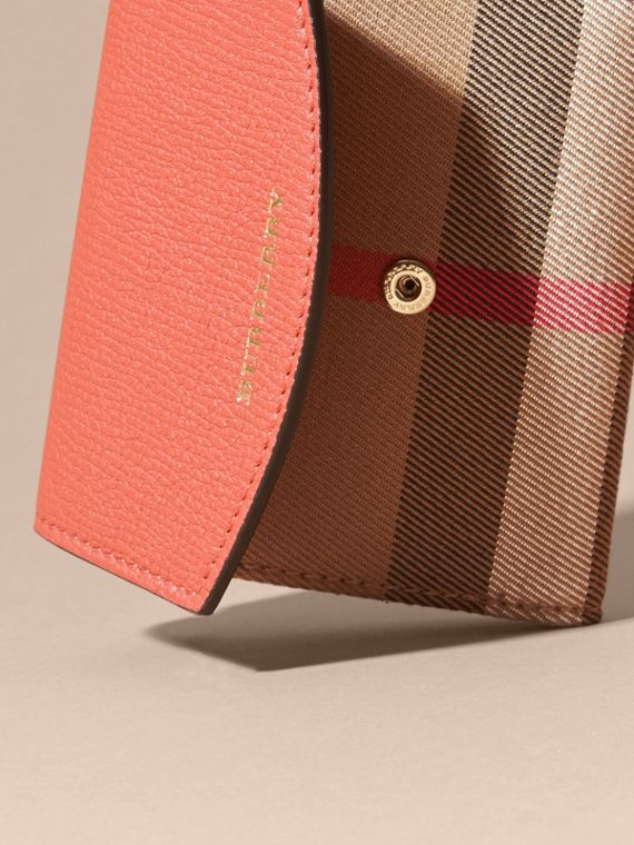 House Check and Leather Wallet in Cinnamon Red - Women | Burberry - cell image 3