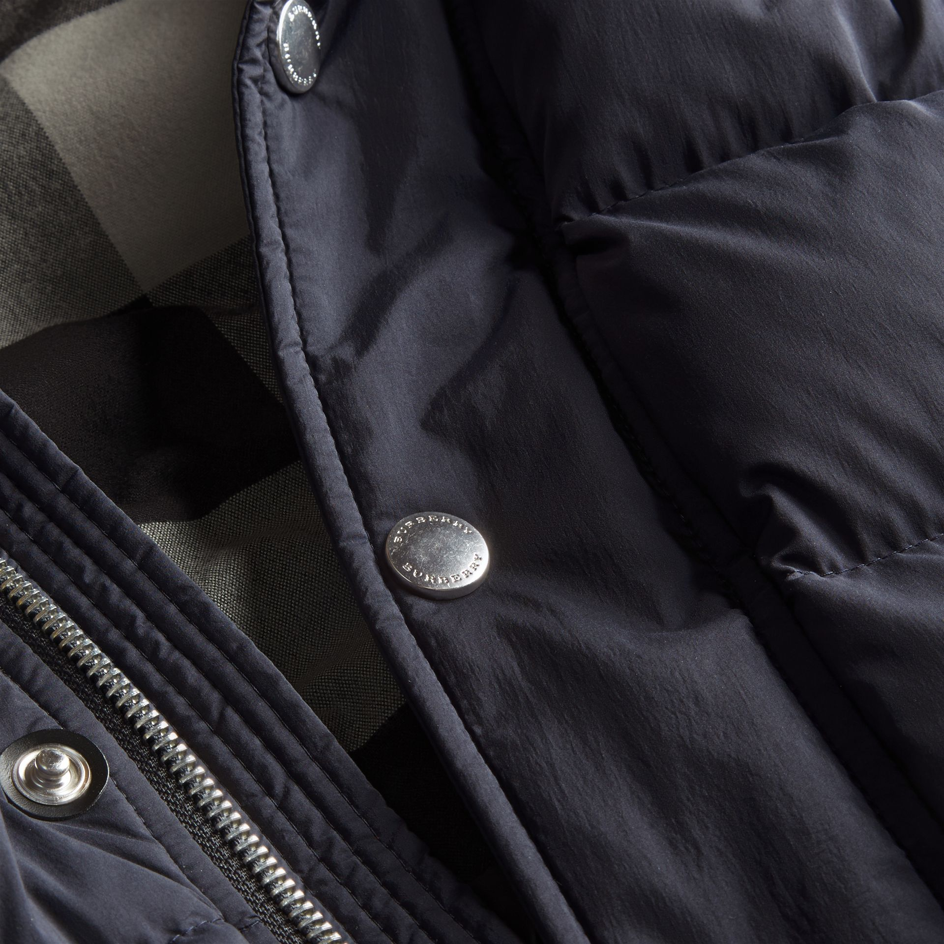Navy Down-filled Hooded Jacket with Detachable Sleeves Navy - gallery image 2