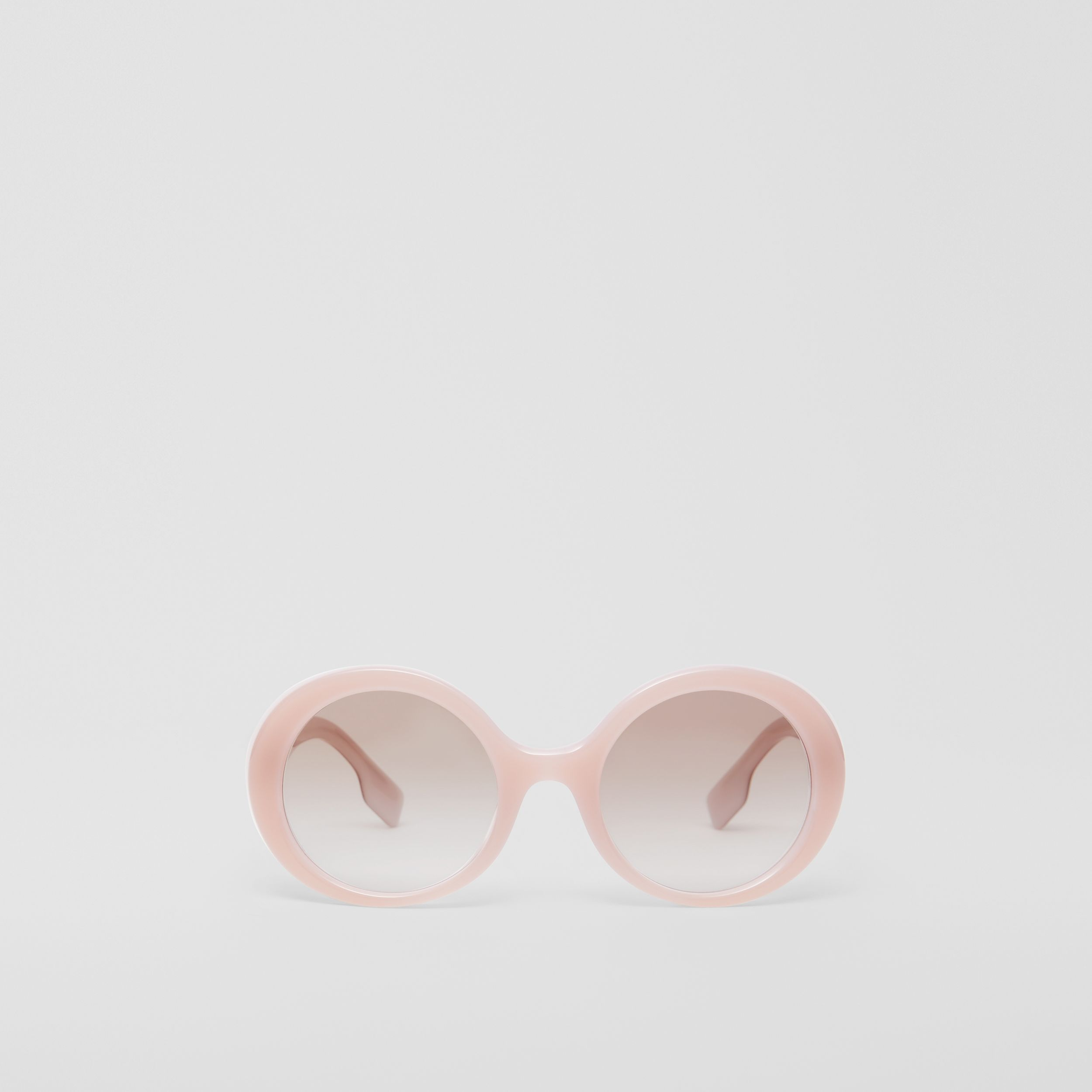 Oversized Round Frame Sunglasses in Opal Pink - Women | Burberry - 1