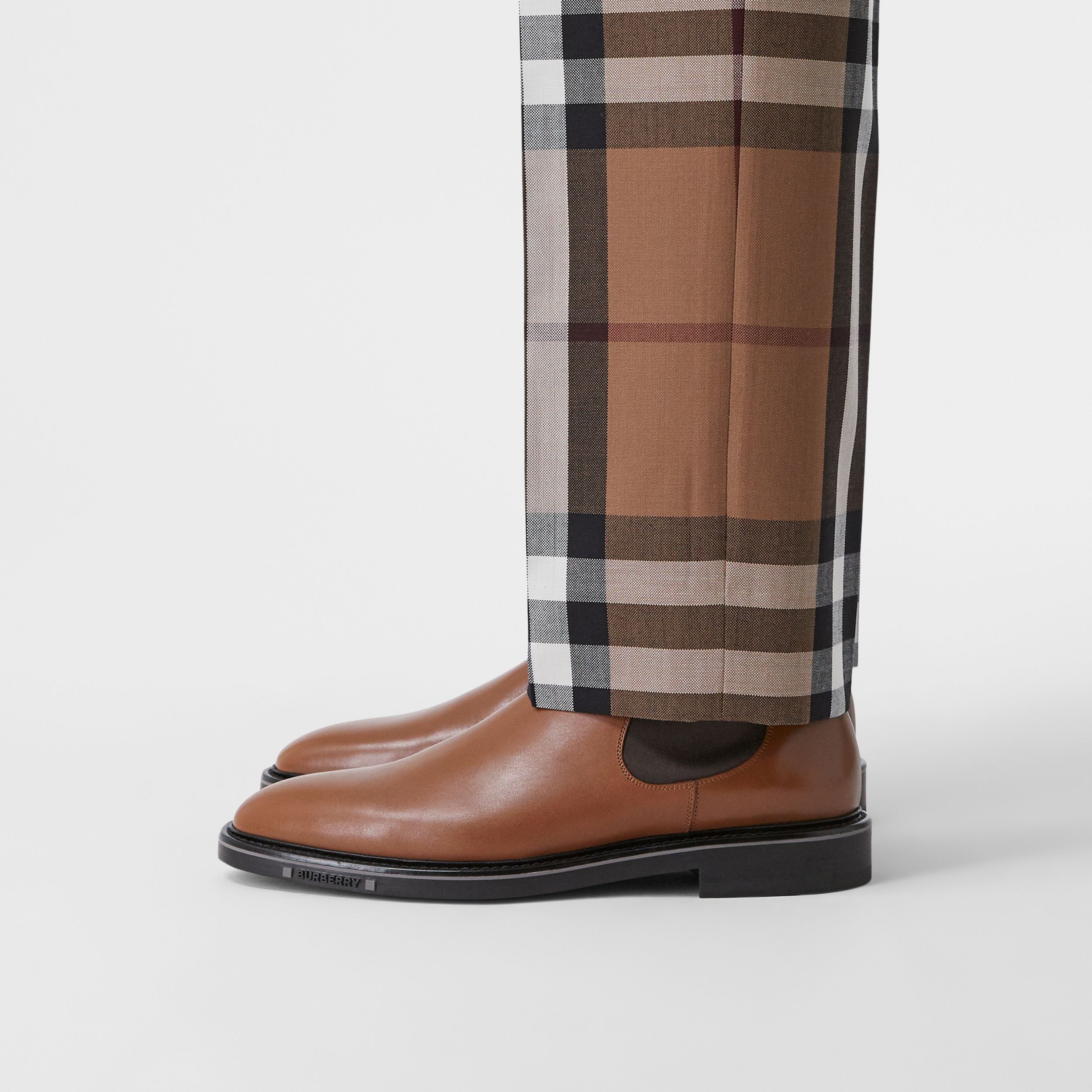 Logo Detail Leather Chelsea Boots in Tan - Men | Burberry - 3