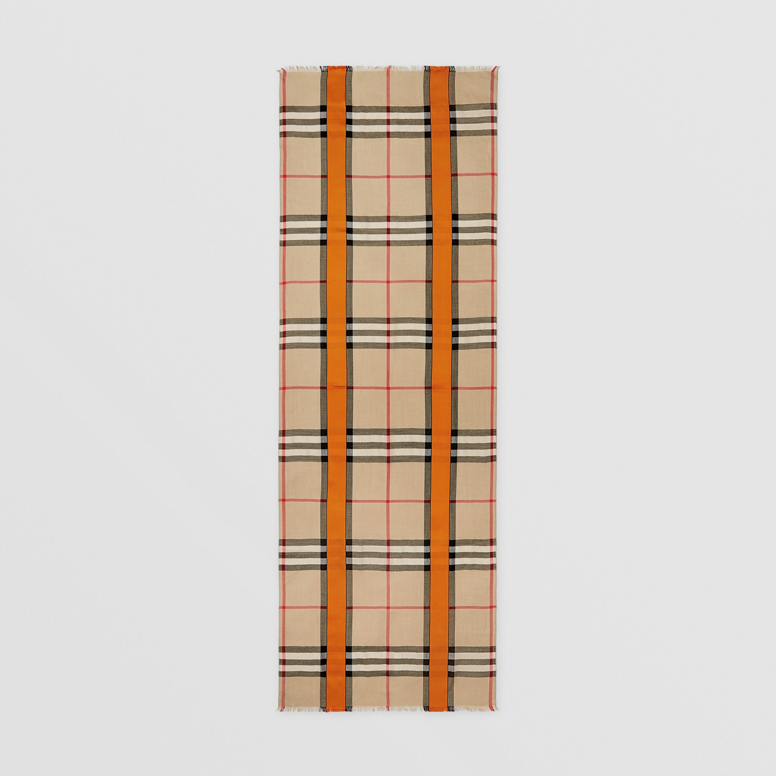 Lightweight Check Cashmere and Silk Scarf in Archive Beige | Burberry - 4
