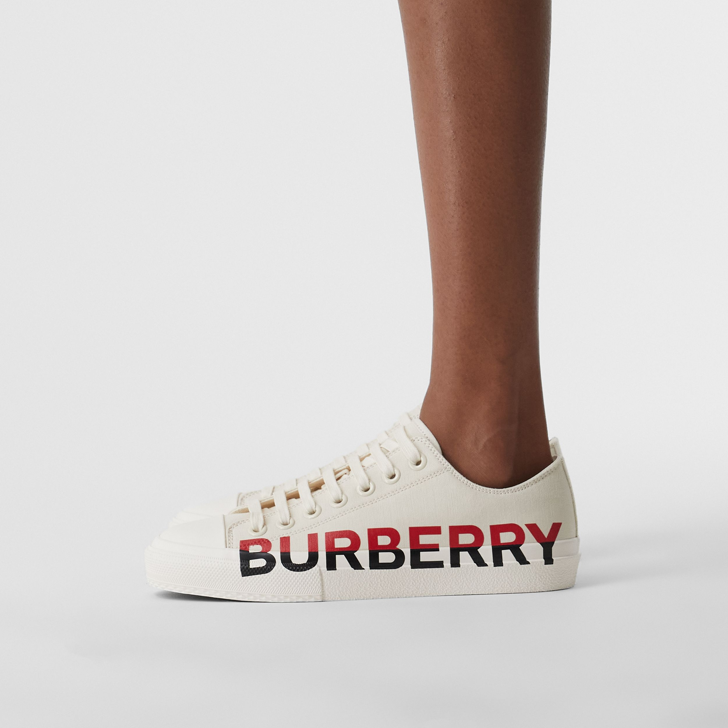 Logo Print Cotton Canvas Sneakers in Cream - Women | Burberry Hong Kong S.A.R. - 3