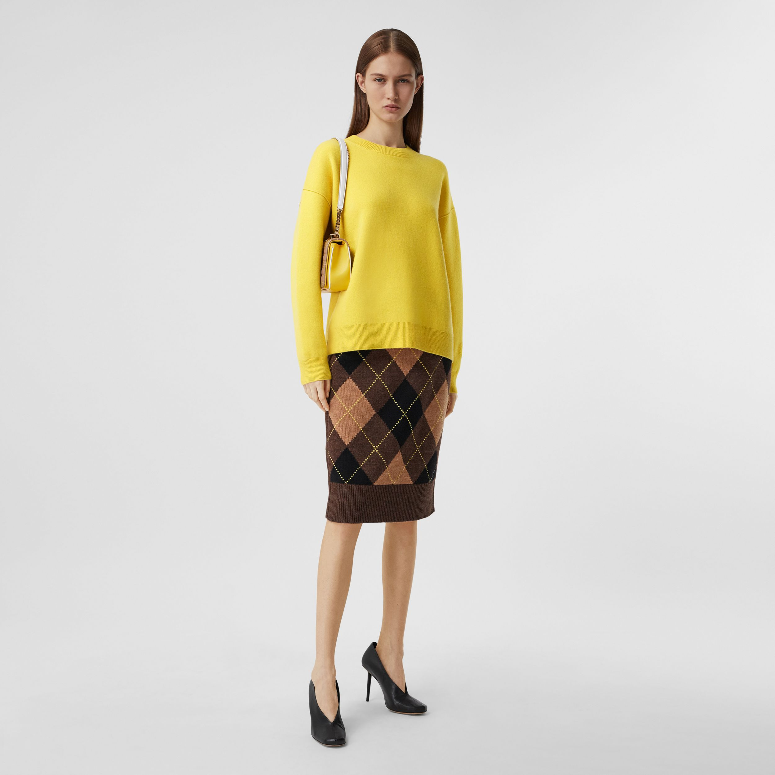 Monogram Motif Cashmere Blend Sweater in Bright Yellow - Women | Burberry - 1