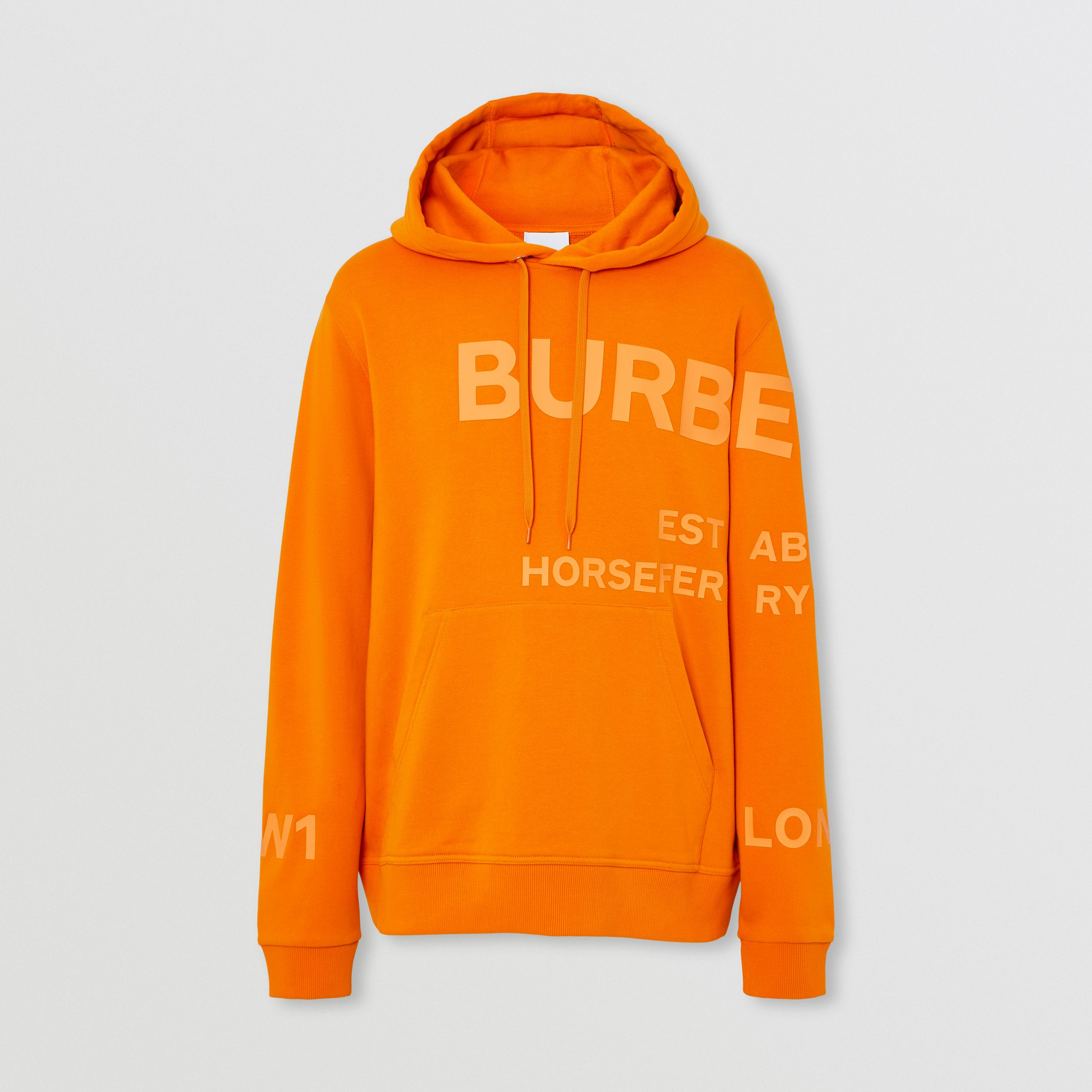 Horseferry Print Cotton Hoodie in Deep Orange - Men | Burberry - 4