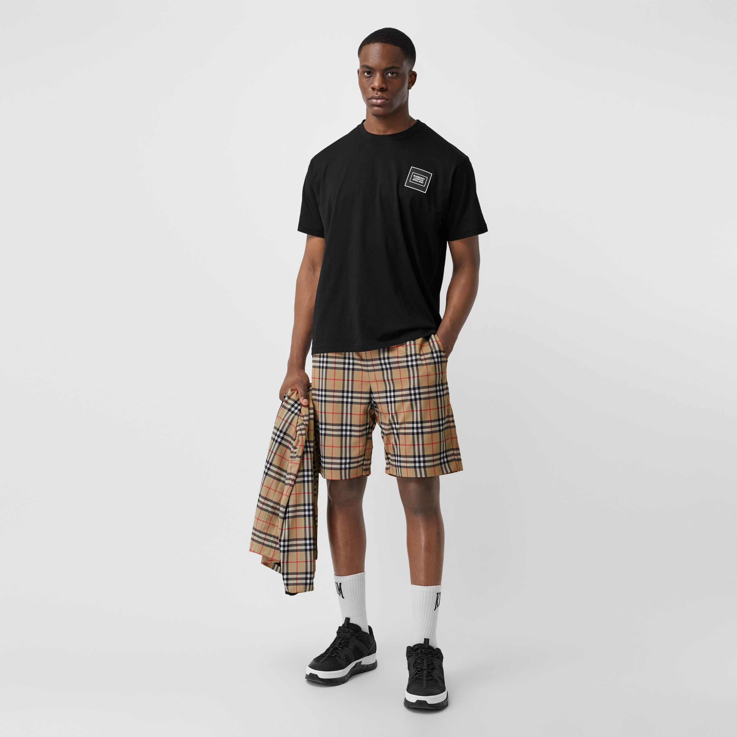 Vintage Check Technical Twill Shorts in Archive Beige - Men | Burberry United States - 1