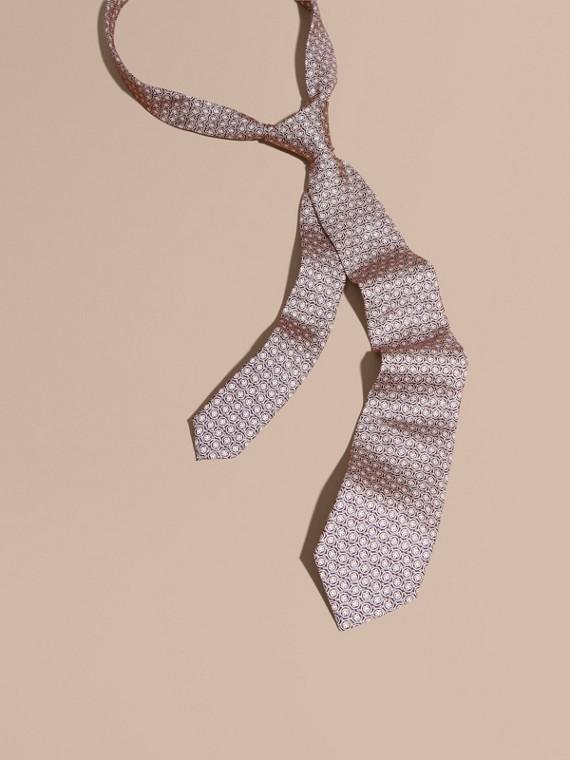 Modern Cut Floral Jacquard Silk Tie Rose Pink