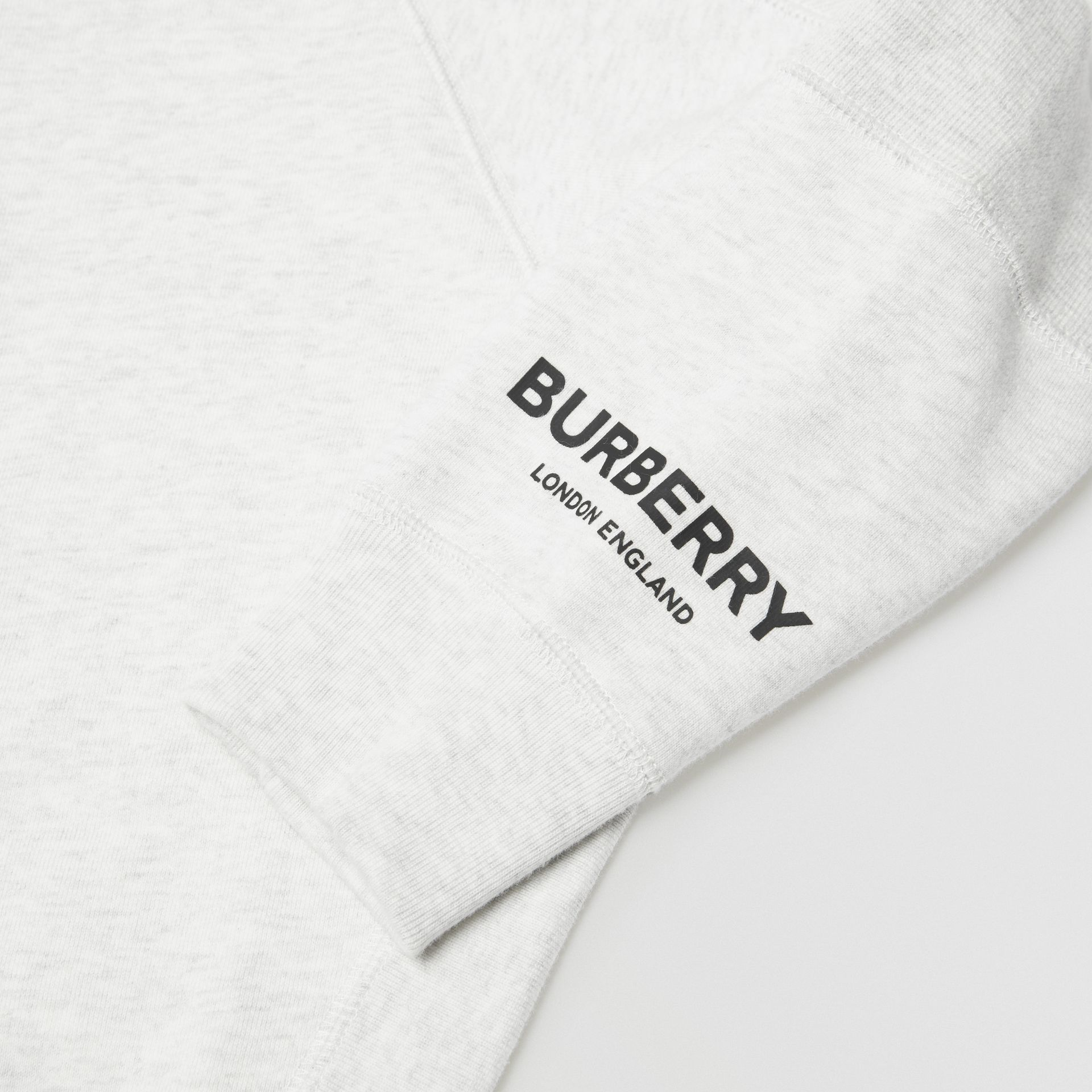 Logo Print Cotton Hooded Top in White Melange | Burberry - gallery image 1