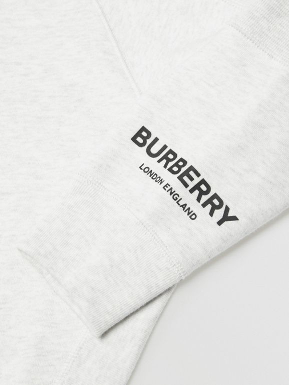 Logo Print Cotton Hooded Top in White Melange | Burberry - cell image 1