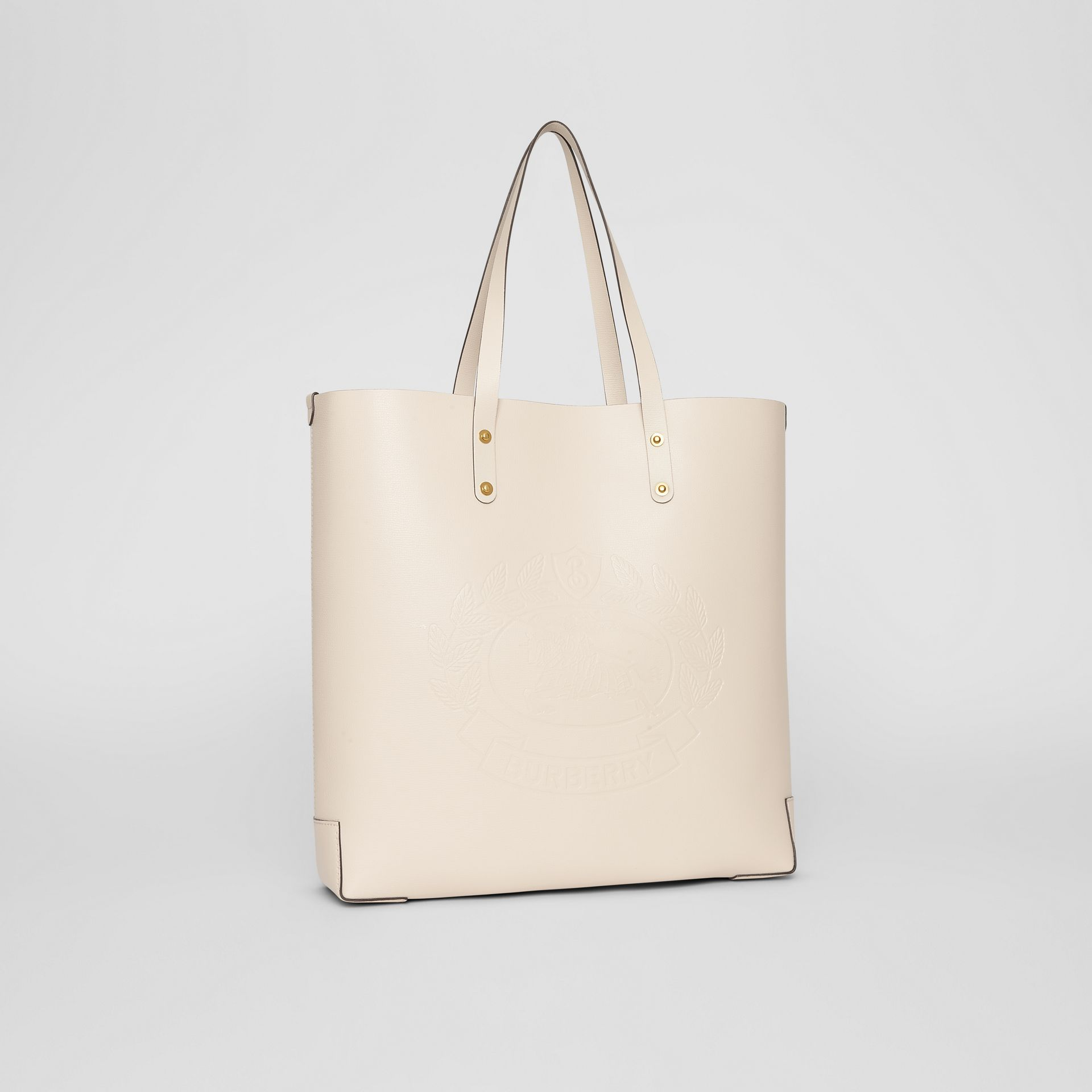 Large Embossed Crest Leather Tote in Limestone | Burberry Australia - gallery image 6